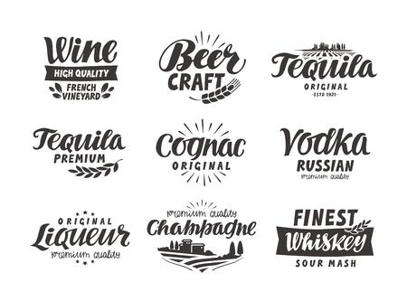 Alcoholic drink. Collection lettering, labels for menu design restaurant or bar  イラスト・ベクター素材