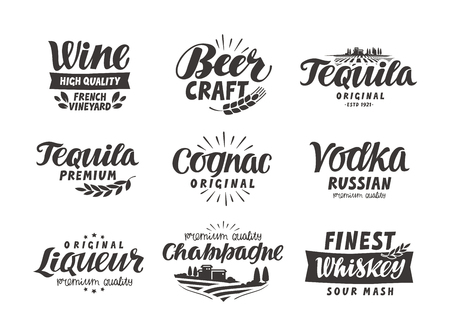 Alcoholic drink. Collection lettering, labels for menu design restaurant or bar Ilustração