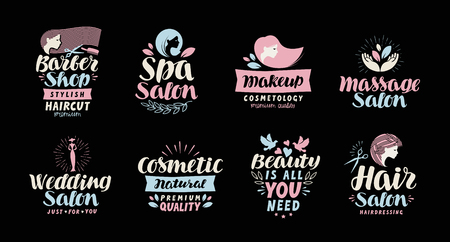 woman makeup: Beauty salon, spa, cosmetic, barber shop or makeup logo. Handwritten in beautiful calligraphic text, lettering. Label vector illustration