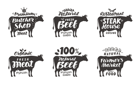 steak beef: Cow. Vector set food labels, badges and icons. Lettering butcher shop, beef, steak house, meat, farmer s market Illustration