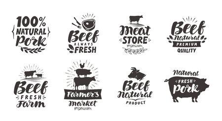 Vector set of meat labels, badges et icônes. Éléments de collection pour le menu ou le restaurant de menu
