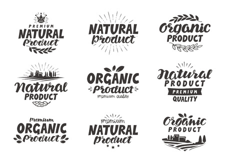 produce: Natural, Organic product icons or symbols. Beautiful lettering design of packaging for food, cosmetic produce. Vector illustration Illustration