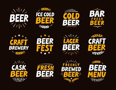 boozer: Brewery set logo, label, element. Craft beer emblem, template, symbol. Vector illustration Illustration
