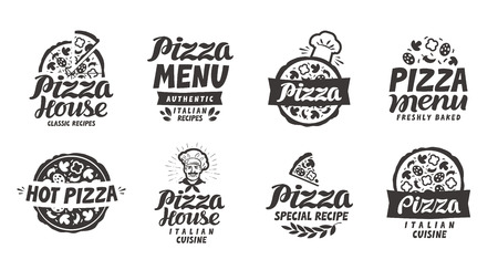 Pizza italian. Collection labels for menu design restaurant or pizzeria Çizim