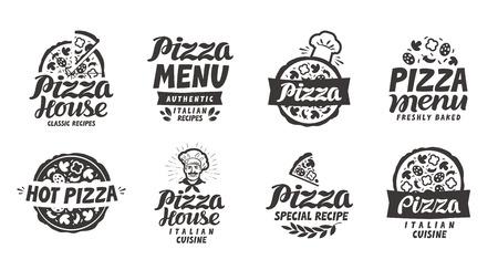 Pizza italian. Collection labels for menu design restaurant or pizzeria Vettoriali