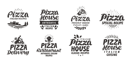 delicatessen: Pizza, food set icons. Collection lettering, labels for menu design restaurant or cafe