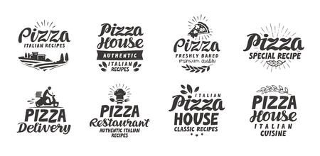 Pizza, food set icons. Collection lettering, labels for menu design restaurant or cafe