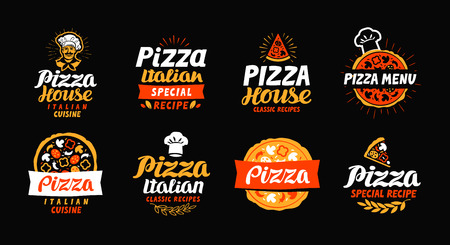 Pizza logo, label, element. Pizzeria, restaurant, voedsel pictogrammen. Vector illustratie