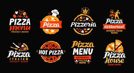 Pizza logo. Verzamellabels voor menu-ontwerp restaurant of pizzeria. Vector pictogrammen