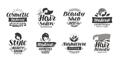 logotipo de salón de belleza, un conjunto de iconos. etiquetas de gran belleza como cosméticos, maquillaje, manicura, estilo. ilustración vectorial Logos