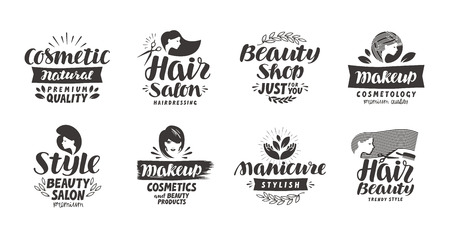 Beauty salon logo, set of icons. Beautiful labels such as cosmetic, makeup, manicure, style. Vector illustration