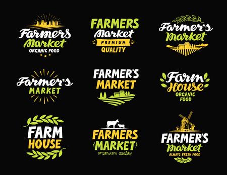 vecteur Farm logo. Farmers Market, l'agriculture, des icônes ou des symboles de collecte de l'agriculture