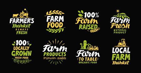 granja: Cultivar etiquetas frescas. icono del agricultor. Agricultura logotipo. Orgánica, símbolo de recogida de alimentos naturales