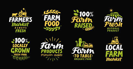 Farm fresh labels. Farmer icon. Farming logo. Organic, natural food collection symbol