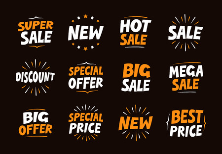 big sale: Vector set colorful labels for sale, shopping and promotion. Business collection icons Illustration