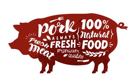 porcine: Pig symbol. Meat, pork vector illustration Illustration