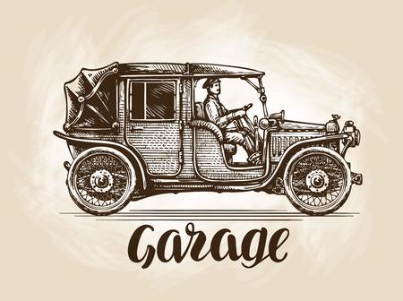 Ręcznie rysowane retro samochód. Szkic ilustracji wektorowych Ilustracje wektorowe