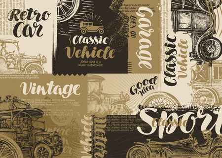 vintage banner: Retro car. Vintage poster or banner. Vector illustration