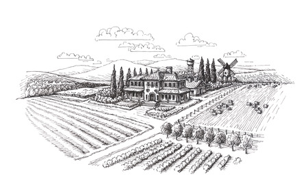 Vintage landscape. Farm, agriculture sketch Stock Photo