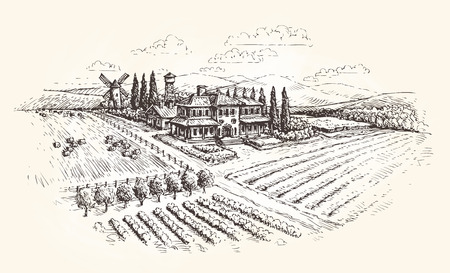 Farm, agriculture or vineyards sketch. Vector illustration
