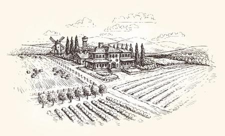 Boerderij, landbouw of wijngaarden schets. Vector illustratie
