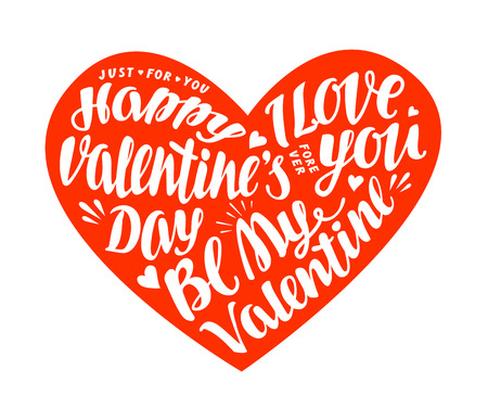 Happy Valentines day. Greeting card in shape heart with beautiful lettering, calligraphy. Vector illustration Illustration