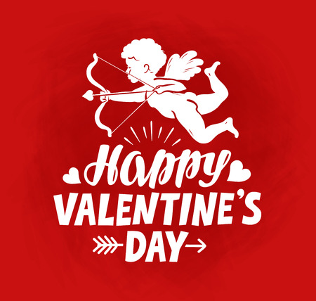Happy Valentines Day, greeting card. Flying angel, cherub or cupid with bow and arrow