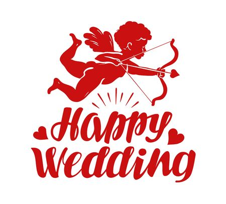 matrimonio feliz: Happy wedding, greeting card. Flying angel, cherub or cupid with bow and arrow. Vector illustration Vectores