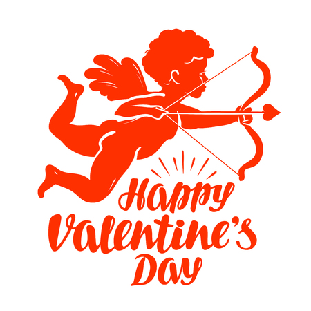 seraphic: Happy Valentines Day, greeting card. Flying angel or cupid with bow and arrow. Vector illustration