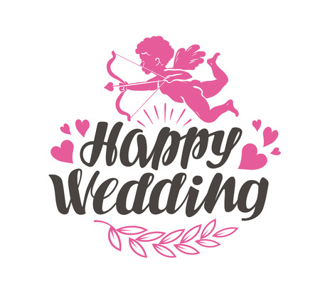 Happy Wedding. Label with beautiful lettering, calligraphy. Vector illustration