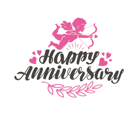 Happy Anniversary. Label with beautiful lettering, calligraphy. Vector illustration