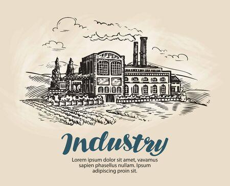 Industrie, croquis d'usine. Production industrielle, fabrication. Illustration vectorielle vintage