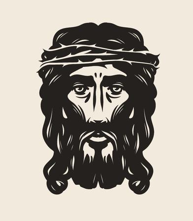 human face: Jesus Christ face. God, religion symbol. Art vector illustration Illustration