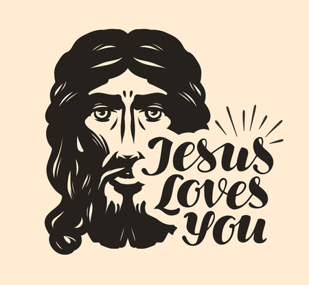 Jesus Loves You. Biblical illustration. Christian lettering vector