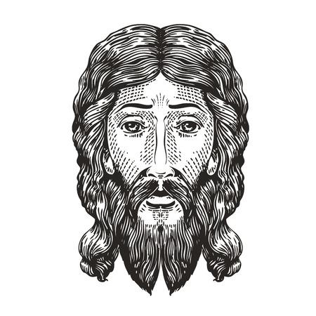 human face: God sketch. Jesus Christ drawn in engraving style. Vintage vector illustration Illustration