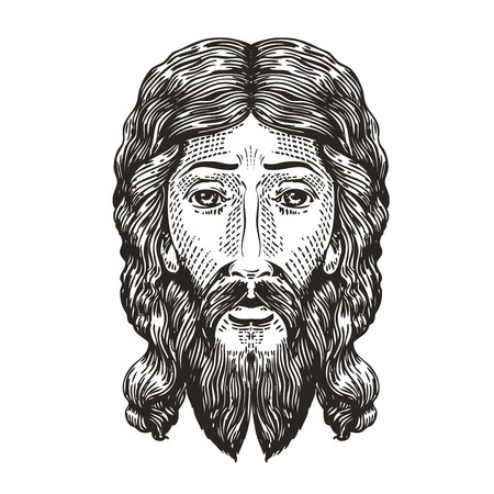 God sketch. Jesus Christ drawn in engraving style. Vintage vector illustration Illustration