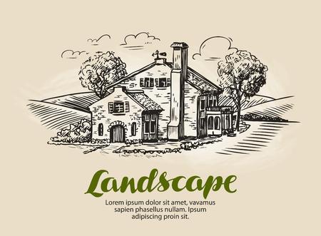 House, summer cottage sketch. Vintage farm, rural landscape vector illustration