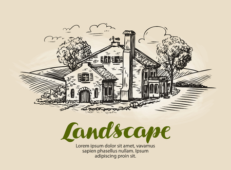 hamlet: House, summer cottage sketch. Vintage farm, rural landscape vector illustration