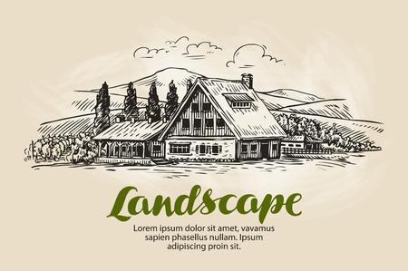 rural house: Rural landscape sketch. Farm, country house, cottage vector illustration