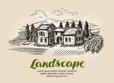 building sketch: Country house, building sketch. Vintage rural landscape, farm, cottage vector illustration Illustration