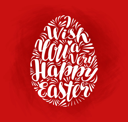 pasch: Happy Easter, holiday. Lettering, calligraphy in shape egg. Greeting card, vector illustration