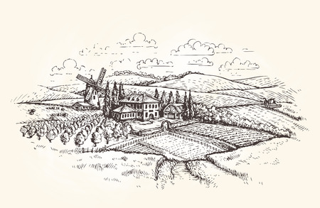 Vintage landscape. Farm, agriculture or wheat field sketch. Vector illustration Vettoriali