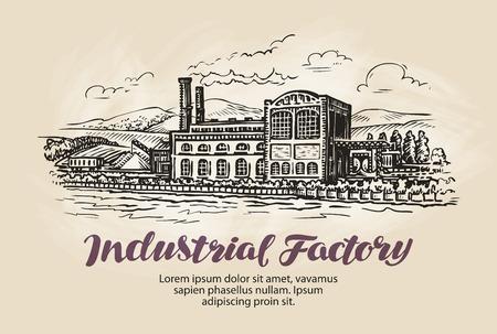 old people: Industrial factory, plant sketch. Vintage building vector illustration