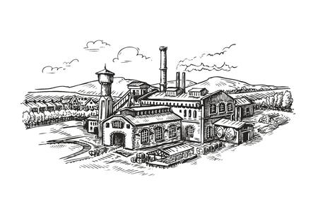 Industrial plant, factory sketch. Vintage building vector illustration Vettoriali