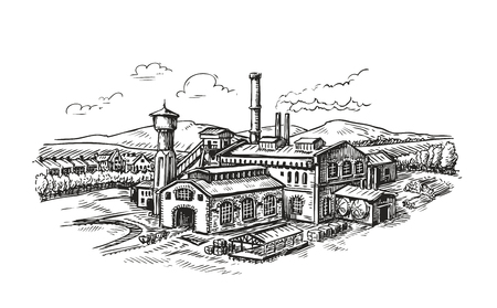 Industrial plant, factory sketch. Vintage building vector illustration Иллюстрация