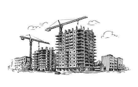 building structures: Urban building construction illustration. Illustration