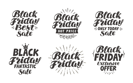 discount banner: Black Friday, Sale label. Lettering, calligraphy vector. Icons and symbols