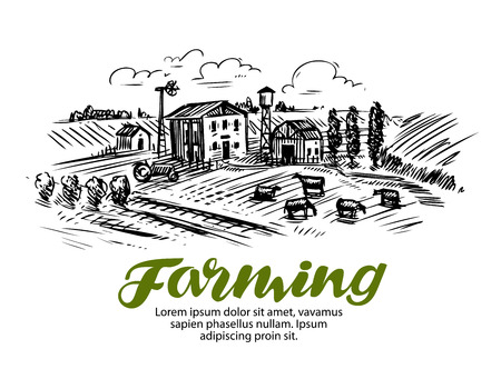 homestead: Farm sketch. Farming, agriculture or cattle breeding Vector Illustration