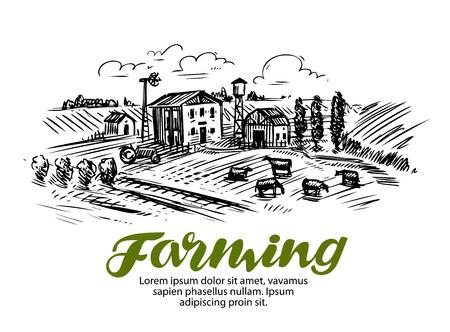 Farm sketch. Farming, agriculture or cattle breeding Vector Illustration