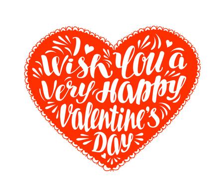 Happy Valentines Day, greeting card. Illustration